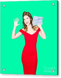 Window Wash Pinup Girl Wiping Clean Copyspace Acrylic Print