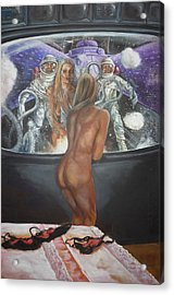 Window Washers On A Space Station Acrylic Print by Bryan Bustard
