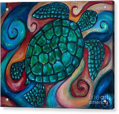 Windowpane Sea Turtle Acrylic Print by Linda Olsen