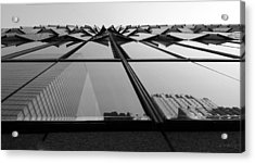 Windows And Reflections Of One W T C  B W Acrylic Print by Rob Hans