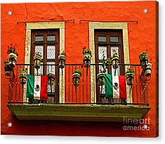 Windows With Flags Acrylic Print by Mexicolors Art Photography