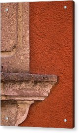 Windowsill And Orange Wall San Miguel De Allende Acrylic Print by Carol Leigh