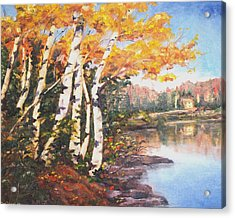 Acrylic Print featuring the painting Windy Birches by Diane Daigle