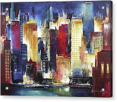 Windy City Nights Acrylic Print by Kathleen Patrick