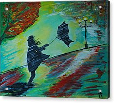 Acrylic Print featuring the painting Windy Escapade by Leslie Allen