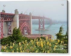 Windy Foggy Golden Gate Bridge  Acrylic Print