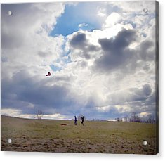 Windy Kite Day Acrylic Print by Bill Cannon