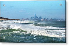 Windy View Of Nyc From Sandy Hook Nj Acrylic Print by Gary Slawsky