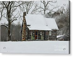 Windy Winter Day At The Cabin Acrylic Print