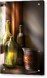 Wine - Three Bottles Acrylic Print by Mike Savad