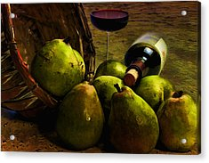 Acrylic Print featuring the photograph Wine And Pears by Gary Smith