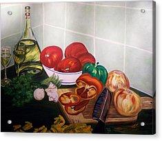 Wine And Veggies Acrylic Print