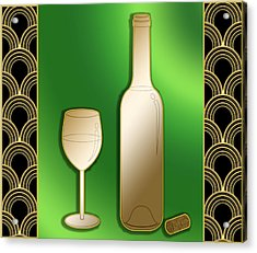 Acrylic Print featuring the digital art Wine Bottle And Glass - Chuck Staley by Chuck Staley