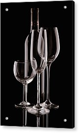 Wine Bottle And Wineglasses Silhouette Acrylic Print by Tom Mc Nemar