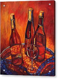 Wine Bottle Mosaic Acrylic Print by Peggy Wilson