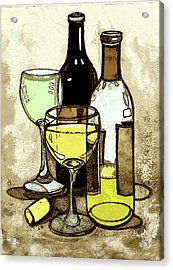 Wine Bottles And Glasses Acrylic Print by Peggy Wilson