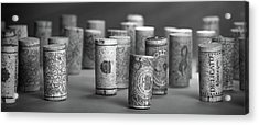 Acrylic Print featuring the photograph Wine Cork Panorama In Black And White by Tom Mc Nemar