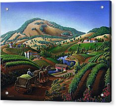 Old Wine Country Landscape - Delivering Grapes To Winery - Vintage Americana Acrylic Print by Walt Curlee