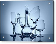 Wine Decanters With Glasses Acrylic Print by Tom Mc Nemar