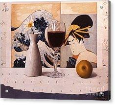 Wine Glas And Japanese Prints Acrylic Print by Daniel Montoya