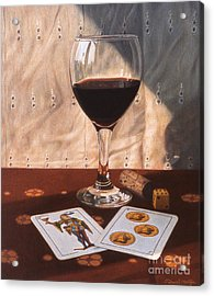 Wine Glass And Playing Cards Acrylic Print by Daniel Montoya