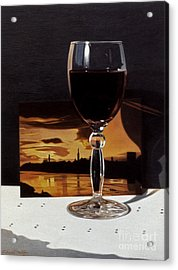 Wine Glass And Postcard Of Florence Acrylic Print by Daniel Montoya
