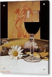 Wine Glass And Three Graces Acrylic Print by Daniel Montoya