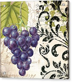 Wine Grapes And Damask Acrylic Print by Mindy Sommers