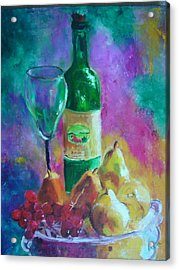 Wine Grapes And Pears Acrylic Print by Virgilla Lammons