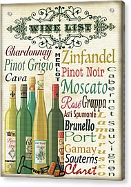 Wine List Art-jp3572 Acrylic Print by Jean Plout