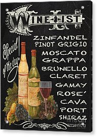 Wine List-jp3585 Acrylic Print by Jean Plout
