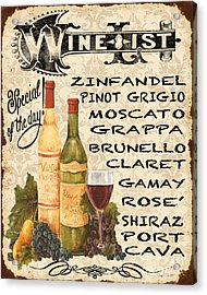 Wine List-jp3588 Acrylic Print by Jean Plout