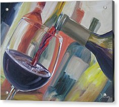 Acrylic Print featuring the painting Wine Pour by Donna Tuten