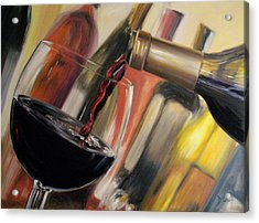 Acrylic Print featuring the painting Wine Pour II by Donna Tuten