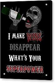 Wine Superpower Skeleton Fantasy Art Acrylic Print
