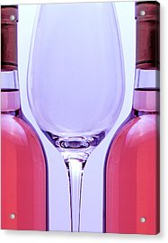 Wineglass And Bottles Acrylic Print by Tom Mc Nemar