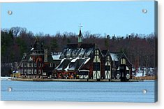 Snow On Boldt Castle Yacht House Acrylic Print