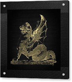 Acrylic Print featuring the digital art Winged Dragon Chimera From Fontaine Saint-michel, Paris In Gold On Black by Serge Averbukh