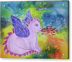 Acrylic Print featuring the painting Winged Dragon by Ellen Levinson