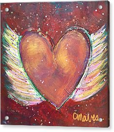 Acrylic Print featuring the painting Winged Heart Number 2 by Laurie Maves ART