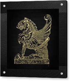 Acrylic Print featuring the digital art Winged Lion Chimera From Casa San Isidora, Santiago, Chile, In Gold On Black by Serge Averbukh
