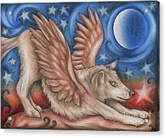 Winged Wolf In Downward Dog Yoga Pose Acrylic Print