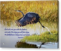 Wings Of Refuge With Scripture Acrylic Print