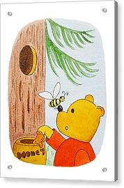 Winnie The Pooh And His Lunch Acrylic Print by Irina Sztukowski