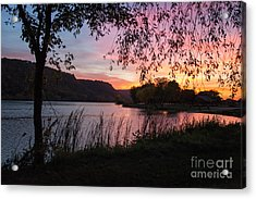 Acrylic Print featuring the photograph Winona Minnesota Pink Sunset With Branches by Kari Yearous