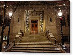 Acrylic Print featuring the photograph Winona Public Library On A Snowy Night by Kari Yearous