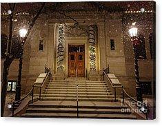 Winona Public Library On A Snowy Night Acrylic Print