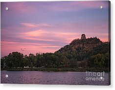 Acrylic Print featuring the photograph Winona Sugarloaf Pink Skies With Geese by Kari Yearous
