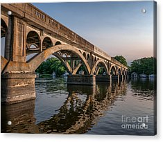 Acrylic Print featuring the photograph Winona Wagon Bridge With Boathouses by Kari Yearous
