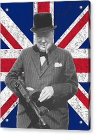 Winston Churchill And Flag Acrylic Print by War Is Hell Store